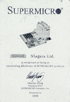 Сертификат официального авторизованного системного интегратора Supermicro